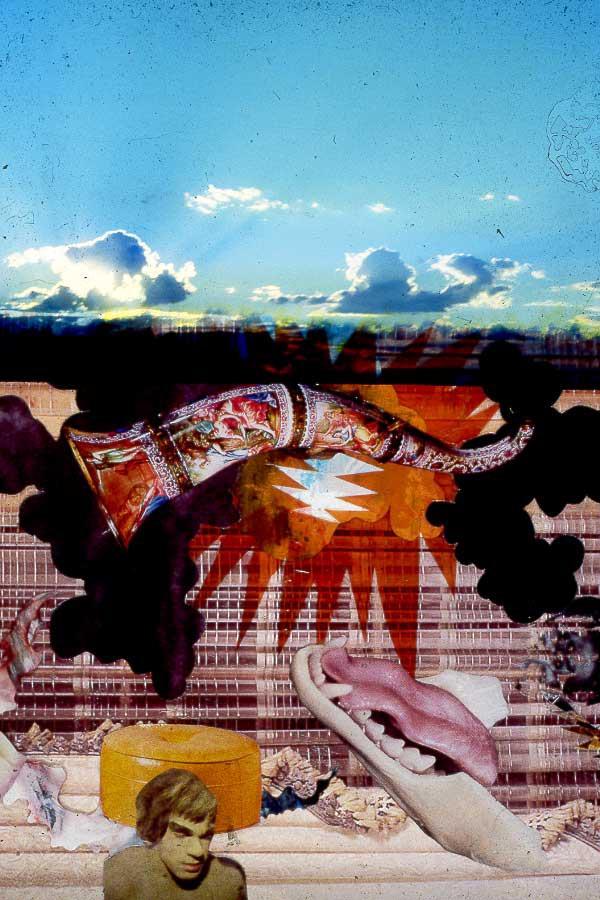 Hulk Blue Sky 2001 altered slide photo of collage
