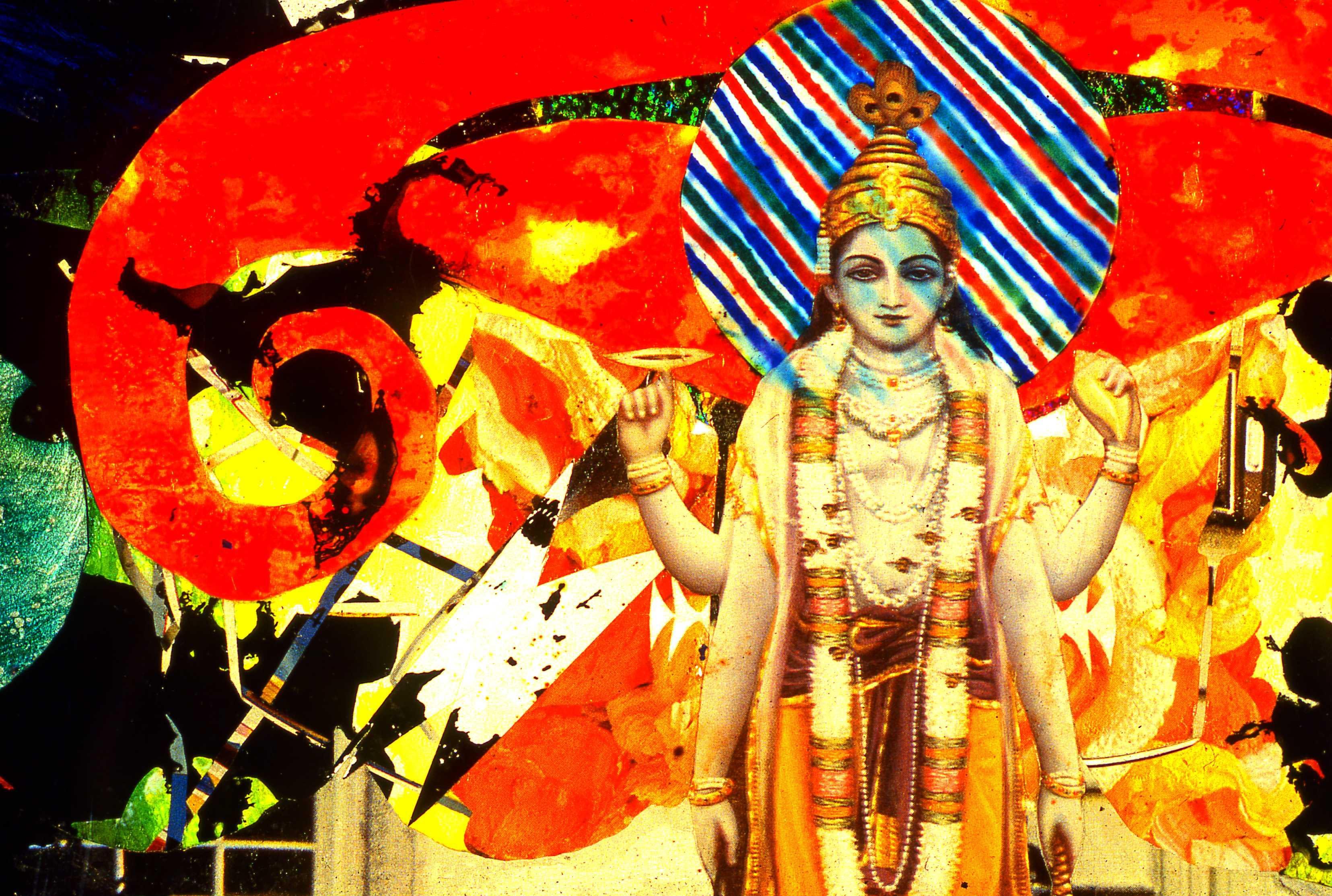 """Vishnu"" (detail) 2001, Collage-painting on plexiglas, approximately 7x23 inches"