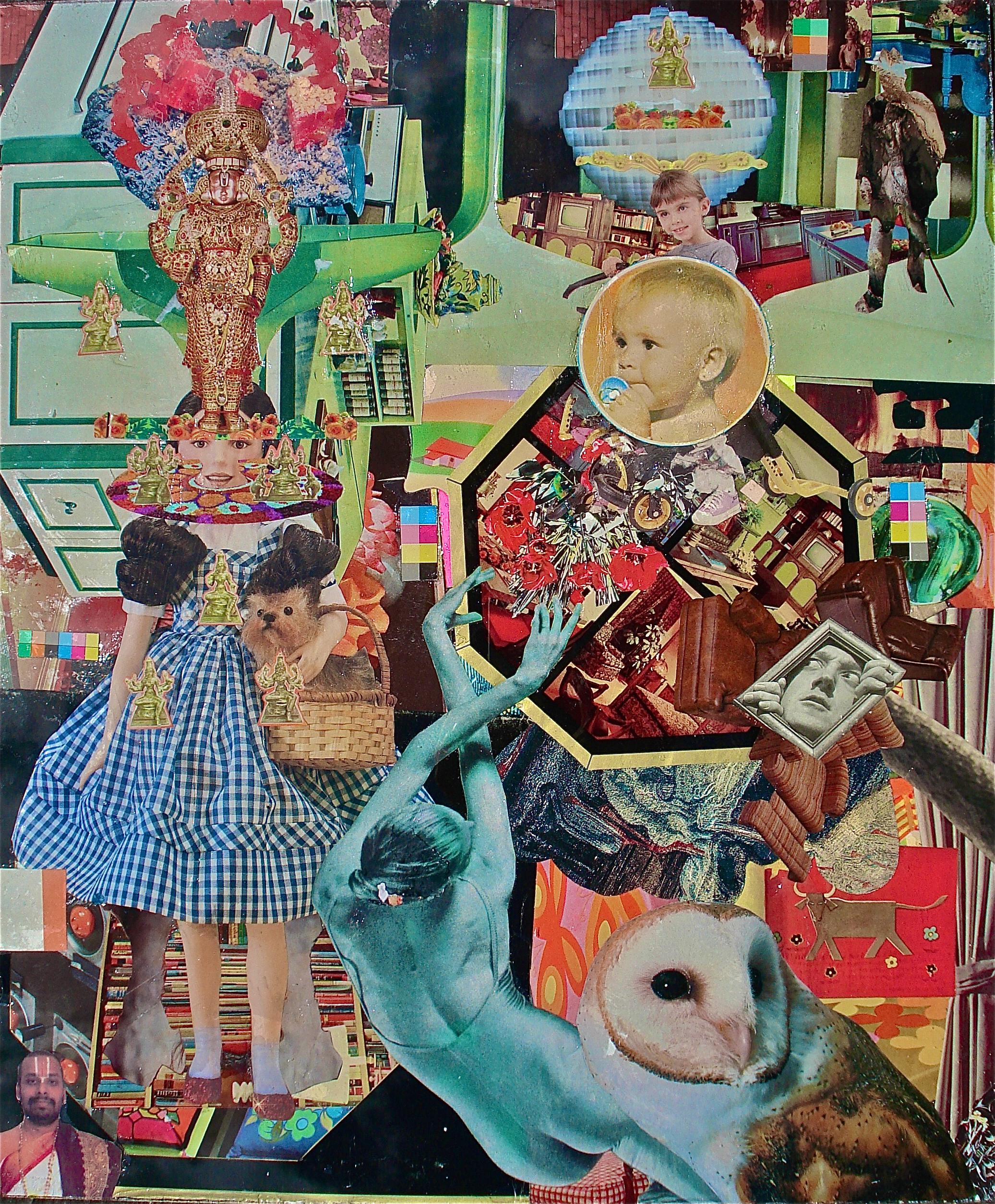 DOMESTIC OFFERINGS 2013, collage on glass, 15x13 inches