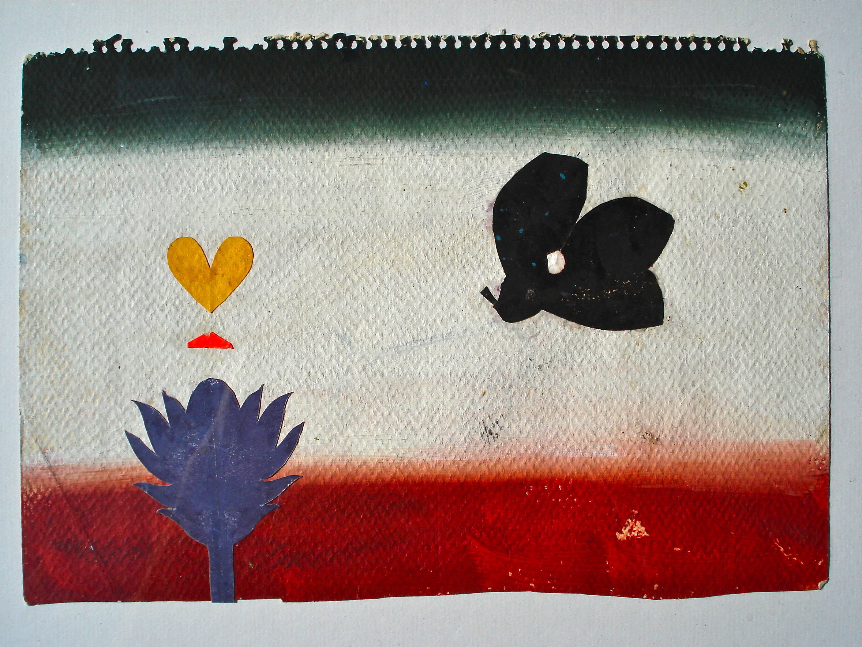 """Flower"" 1996 Paint collage on paper"
