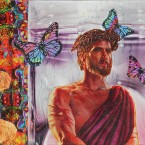 JESUS AND THE BUTTERFLIES  2012, 3 x 5 inches, collage on plexiglas