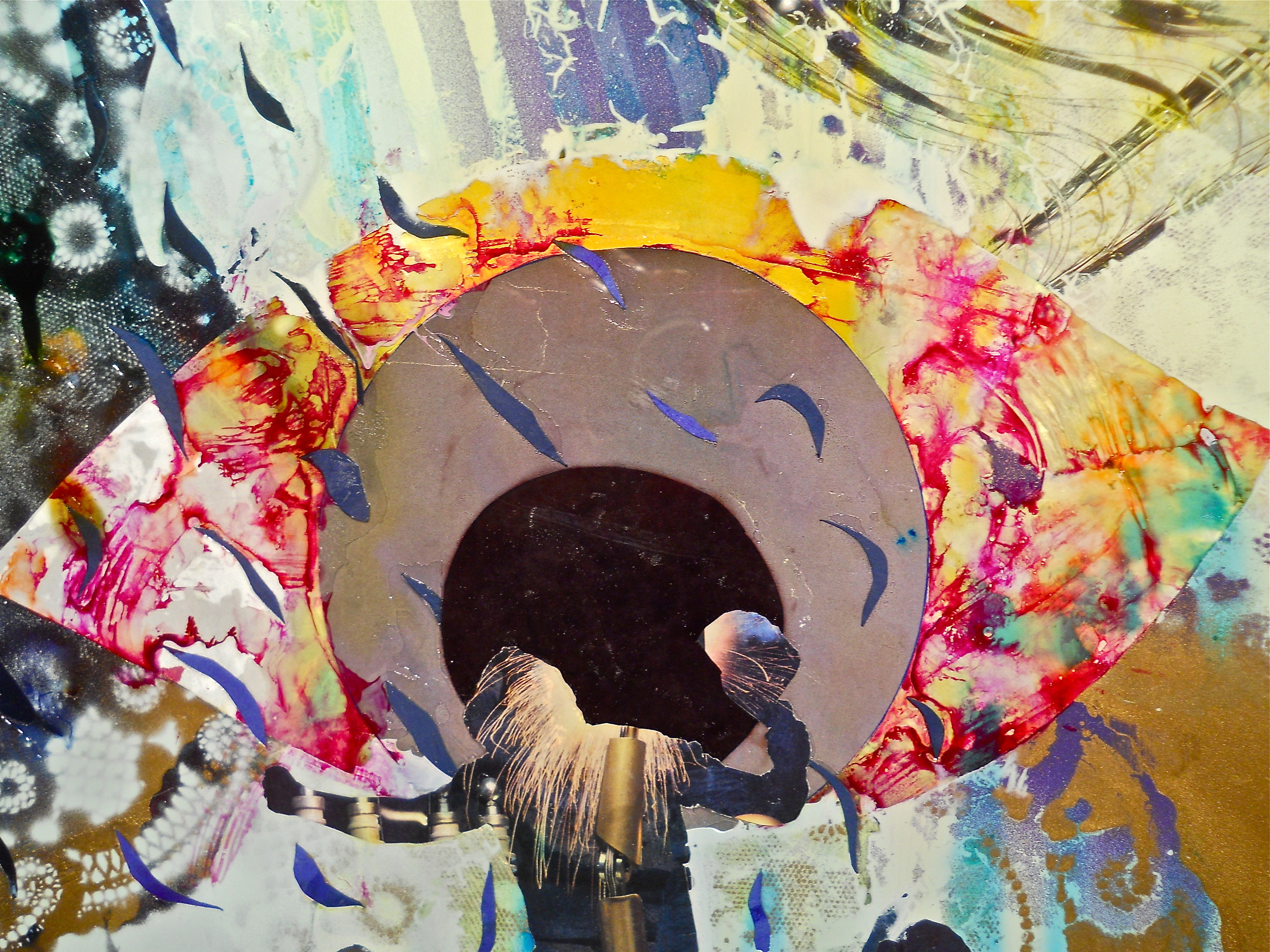 """Spoiled Vagrant Eye"" (detail) 2013 Collage-painting on large glass, approximately 4x3 feet, for sale; $800"