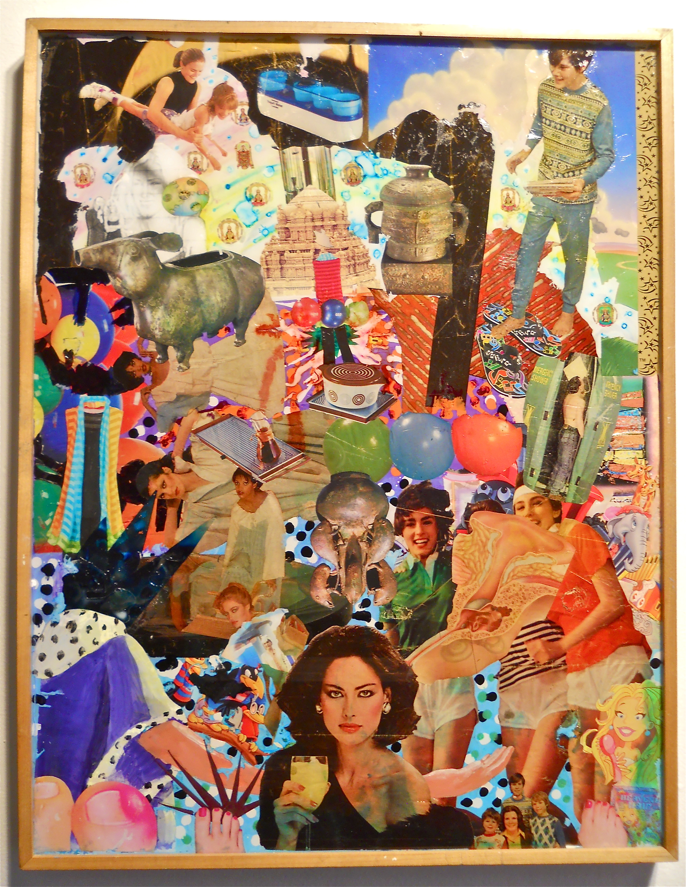 """Cheers""  2013, Collage-painting on Plexiglass mounted in wood frame, for sale; $400"