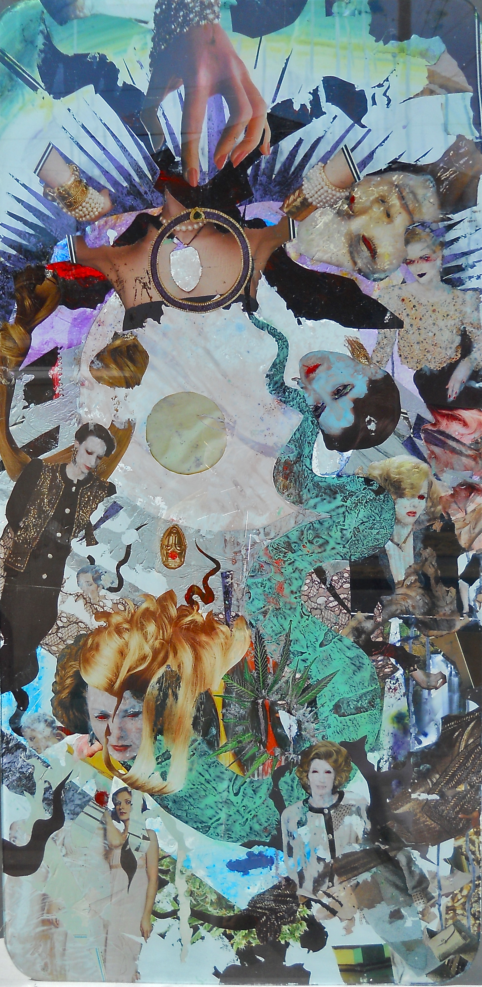 Rising Beyond Oblivion; August 2013, Collage-painting on Glass, 4x2 feet