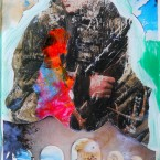 Gunfire; 9 x 6 inches, acrylic and collage on plexiglas, 2012