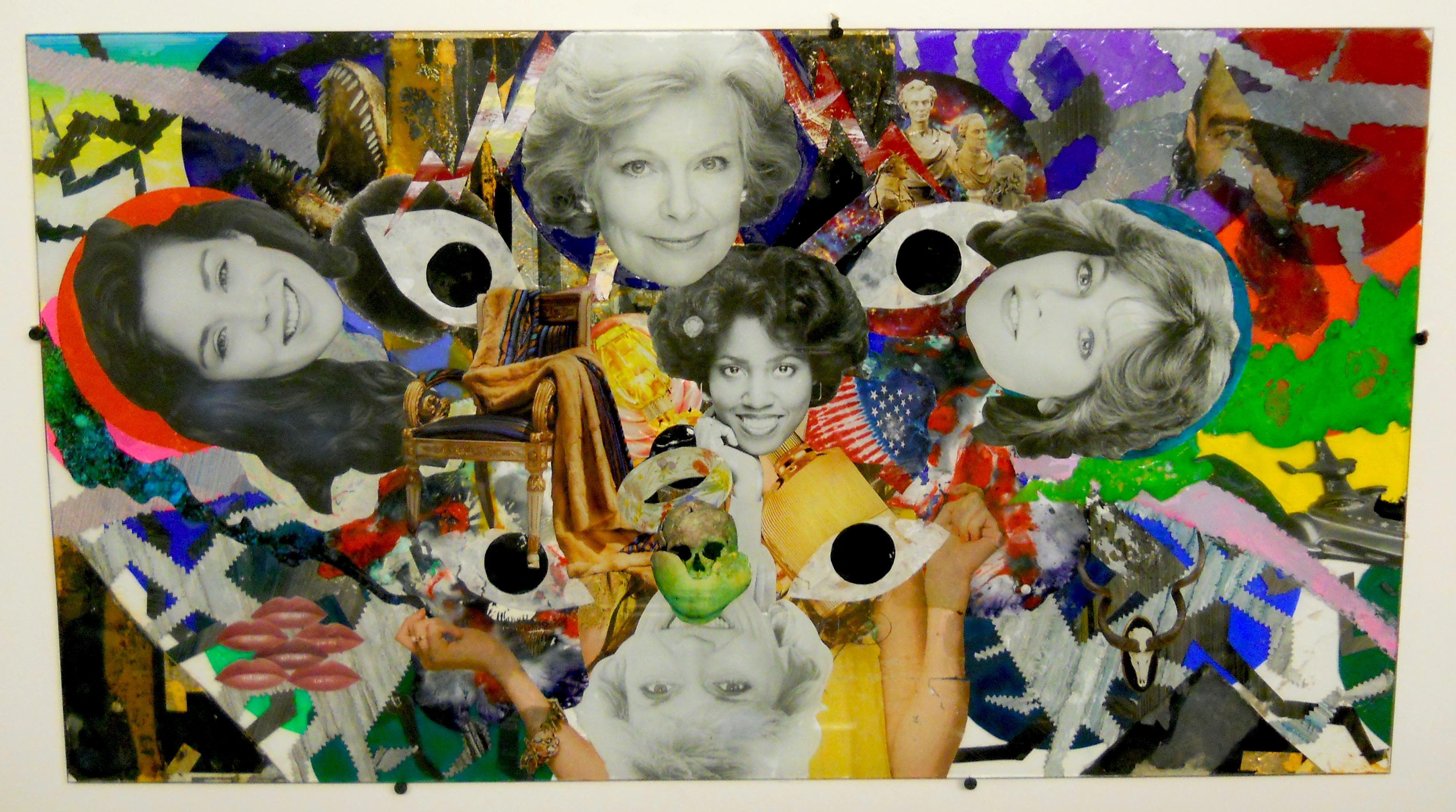 """Hippy Fridge"" 2012, 19 x 33 inches, collage-painting on glass"