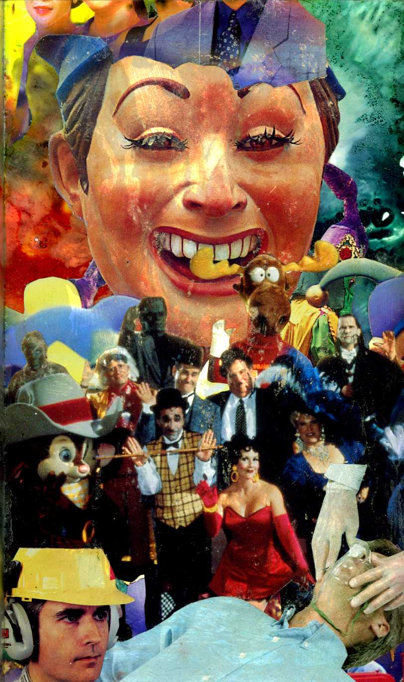 """Emergency at the Cabaret""  2000, Collage-painting on plexiglas, collection of Don Bolles"