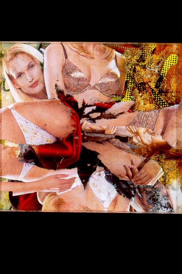 """Model Origami"" 1999, Collage-painting on Plexiglas"