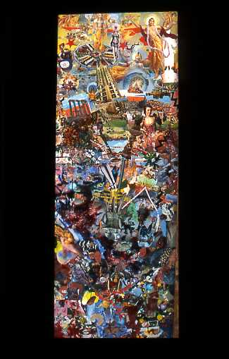 """Above the Crust"" 2004 Vallejo, Caliornia, collage-painting on plexiglas in wood frame by James Meade, Approx. 52x24 inches, for sale in Los Angeles; $1200"